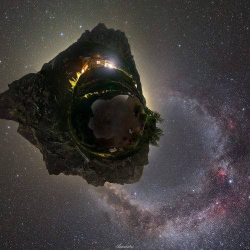 Planet Earth and Galaxy ring
